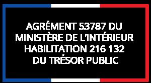 Agrément 53757 du Ministère de l'intérieur - Habilitation 216 132 du Trésor Public